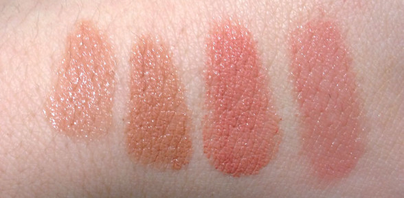 Lipstick Queen comparison swatches – Peachy Nude and Pinky Nude Saints and Sinners