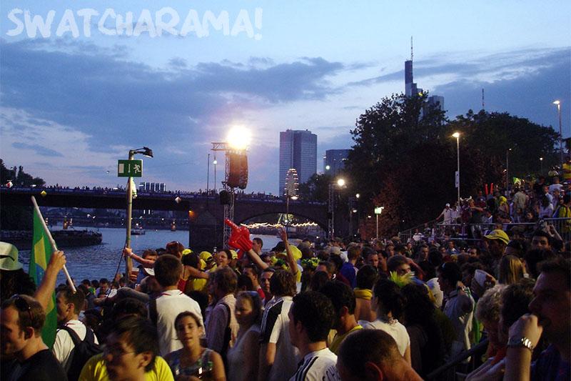 The Frankfurt Fan Park taken over by Brazilians.
